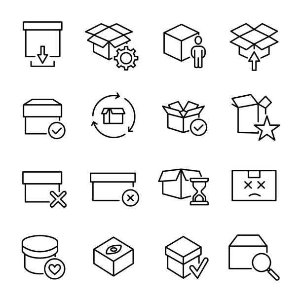 ilustraciones, imágenes clip art, dibujos animados e iconos de stock de esquema moderno de estilo caja iconos colección. - suministros escolares