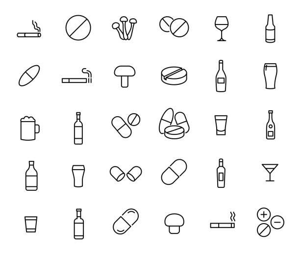 Modern outline style drug icons collection. Modern outline style drug icons collection. Premium quality symbols and sign web icon collection. Pack modern infographic icon and pictogram. Simple addiction pictograms. alcohol drink icons stock illustrations