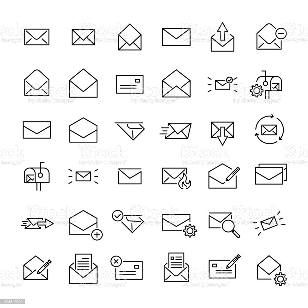 Modern outline style email icons collection vector art illustration