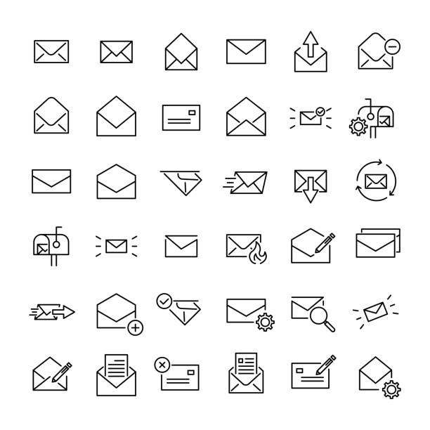modern outline style email icons collection - email icon stock illustrations, clip art, cartoons, & icons