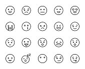 Modern outline style emoji icons collection.