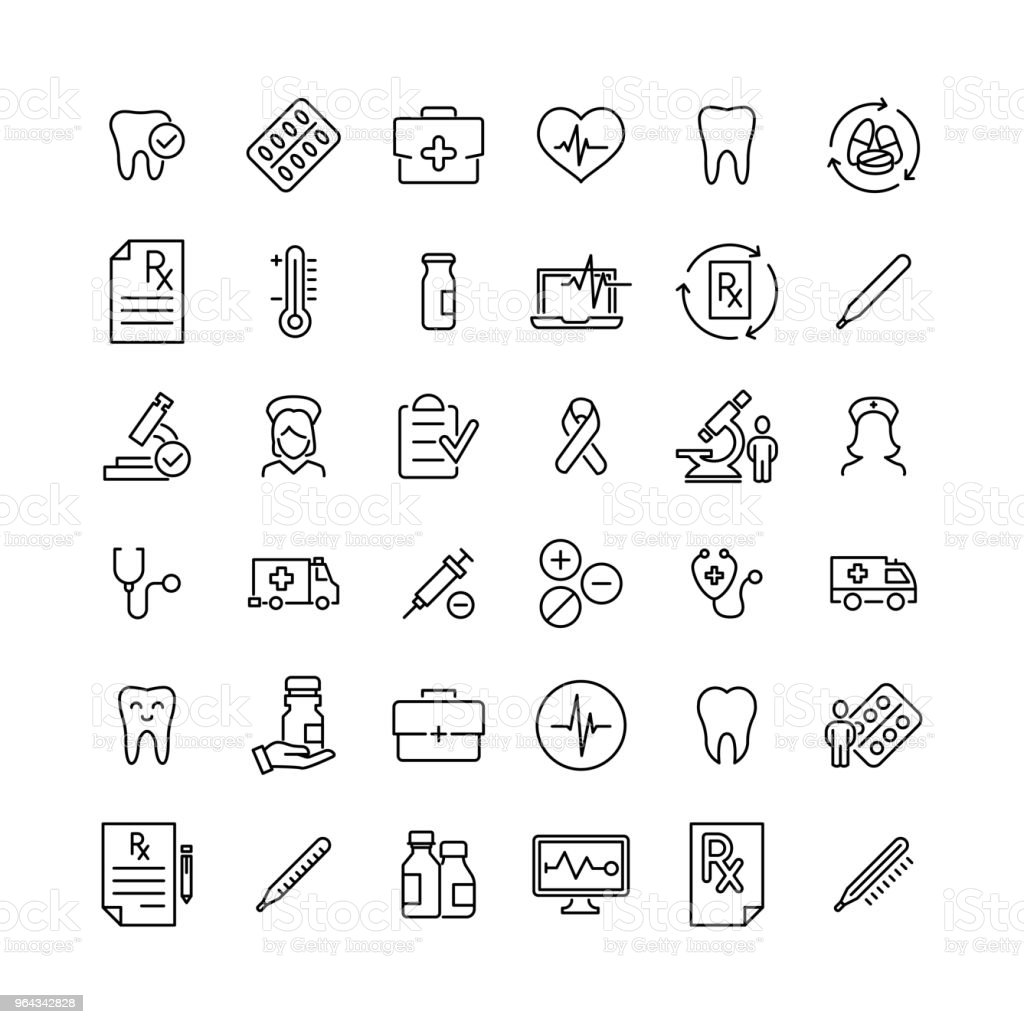Modern outline style healthcare icons collection. vector art illustration