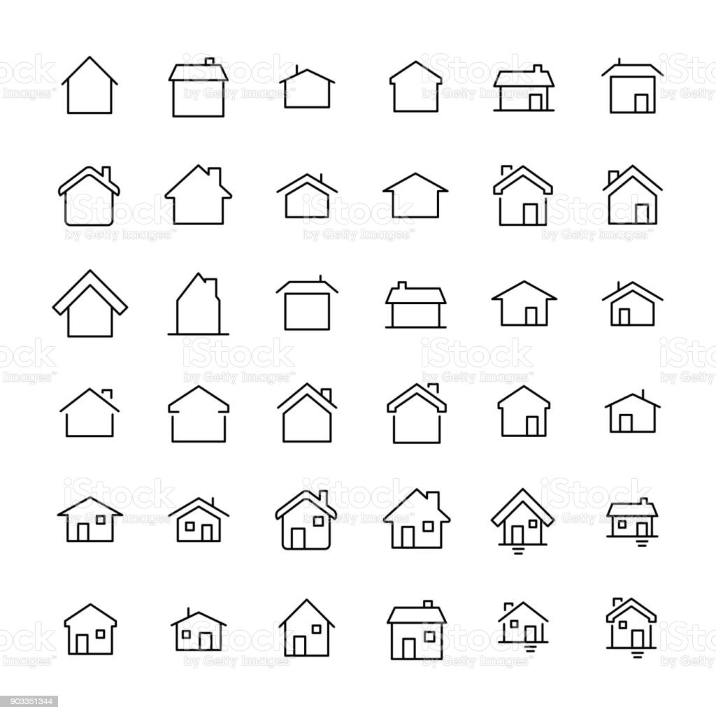 Modern outline style home icons collection. vector art illustration