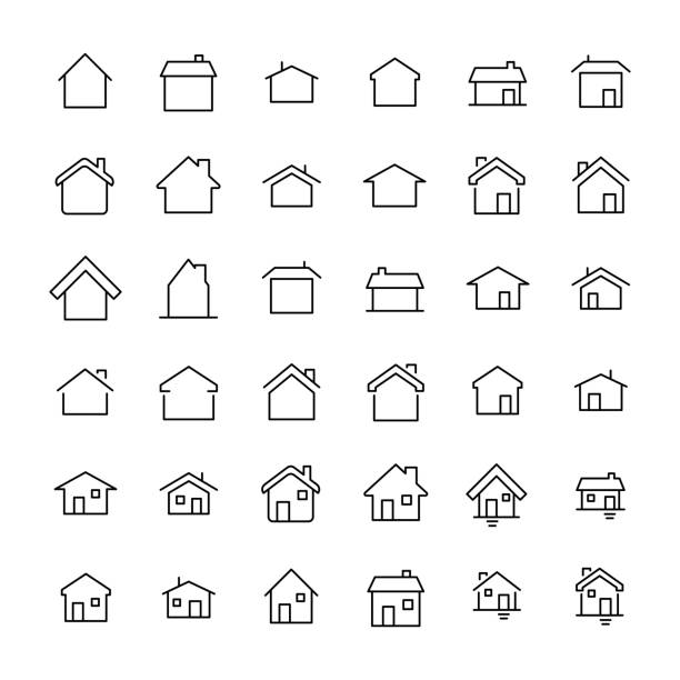modern outline style home icons collection. - house stock illustrations