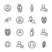 Modern outline style people icons collection.
