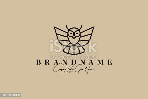 istock Modern owl Line Design Template. cafes, shops, marketplaces, and schools / tutoring / courses Icon Line Art Vector 1312495391