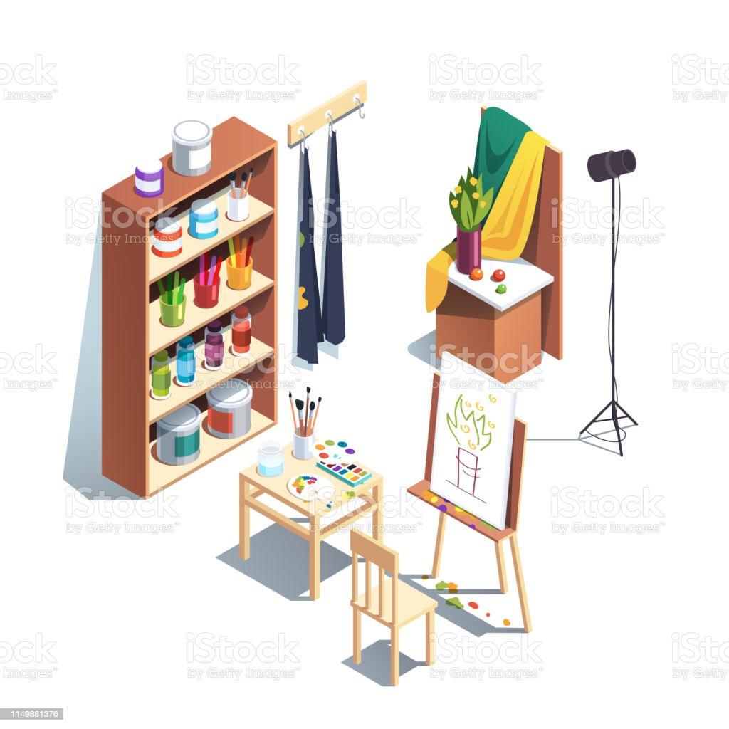 Moderner Malerartist Werkstattraum Mit Leinwand Staffelei
