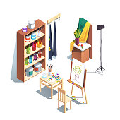 Modern painter artist workshop room with canvas, easel, paints, brushes, table, chair, standard lamp, wooden cupboard. Art drawing design studio furniture. Flat isometric vector illustration