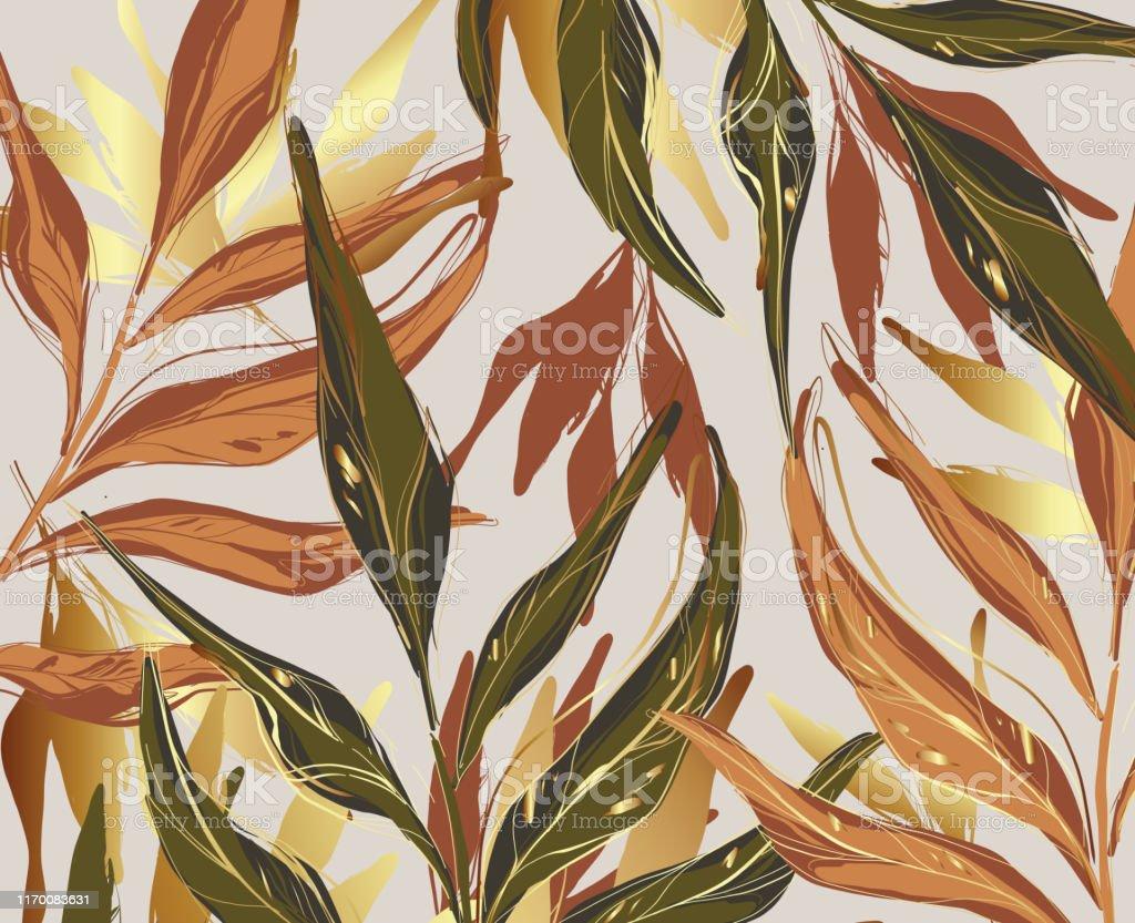 Modern palm leaves, gold, green, orange rust foliage template,...