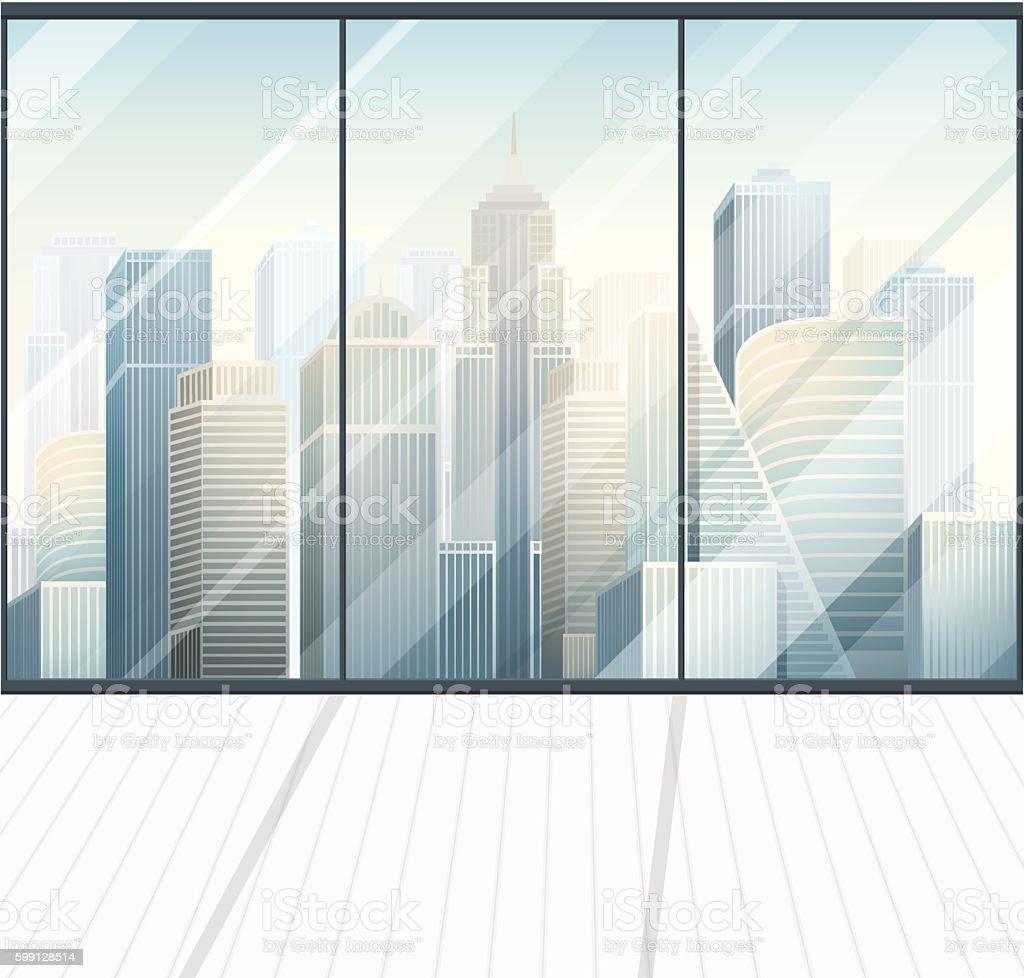 modern panoramic office empty interior vector art illustration