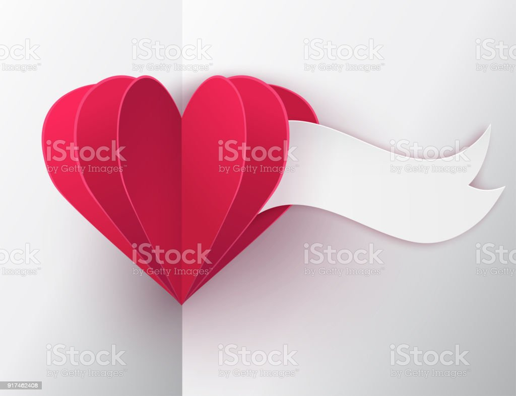 Modern Paper Art Backkground With Paper Folded Hearts And Banner For ...