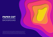 Modern paper art cartoon abstract waves. Paper cut design concept for flyers, presentations and posters. Bright modern abstract design. Vector illustration