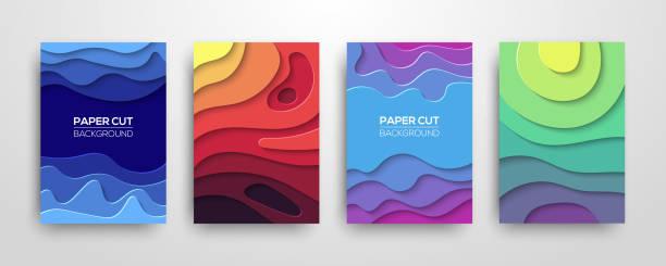 ilustraciones, imágenes clip art, dibujos animados e iconos de stock de modernos papel 3d geométricas cubre sistema - creatividad