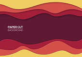 Modern paper cut art cartoon abstract red and yellow waves background. Banners, flyers, presentations and posters template. Origami design. Vector illustration