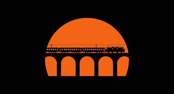 Modern passenger train with electric locomotive on viaduct bridge. Black silhouette on the sunset background. Vector illustration.