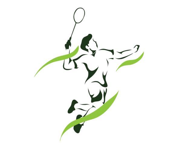 modern passionate badminton player in action - badminton smash stock illustrations