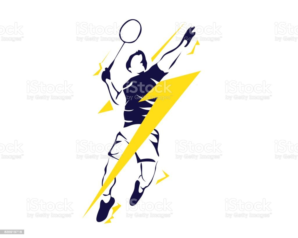Modern Passionate Badminton Player In Action vector art illustration