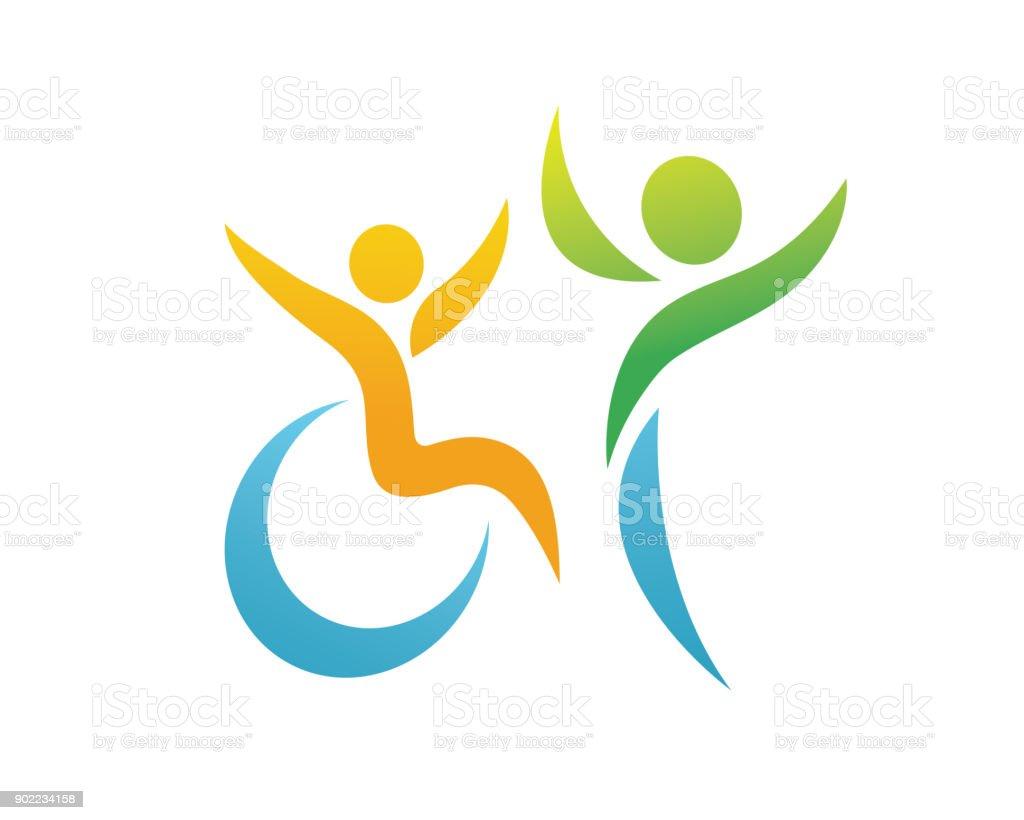 Modern Passionate Disability People Support Symbol Illustration - Royalty-free Acesso para cadeiras de rodas arte vetorial