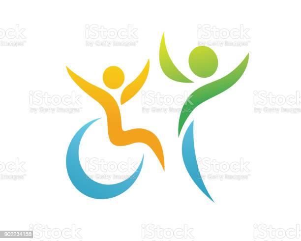 Modern Passionate Disability People Support Symbol Illustration - Arte vetorial de stock e mais imagens de Acesso para cadeiras de rodas