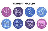 Modern Payment problem Infographic design template. Investment problems Infographic visualization on white background. Banking template for presentation. Creative vector illustration for infographic