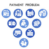 Modern Payment problem Infographic design template with icons. Commerce and banking problems Infographic visualization on white background. Creative vector illustration for infographic