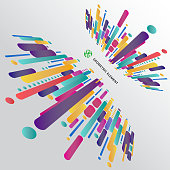 Modern perspective style abstract composition made of various rounded shapes in colorful. Vector illustration.