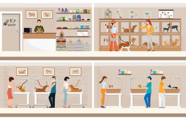 動物のケージのモダンなペット ショップ。 - ペットショップ点のイラスト素材/クリップアート素材/マンガ素材/アイコン素材