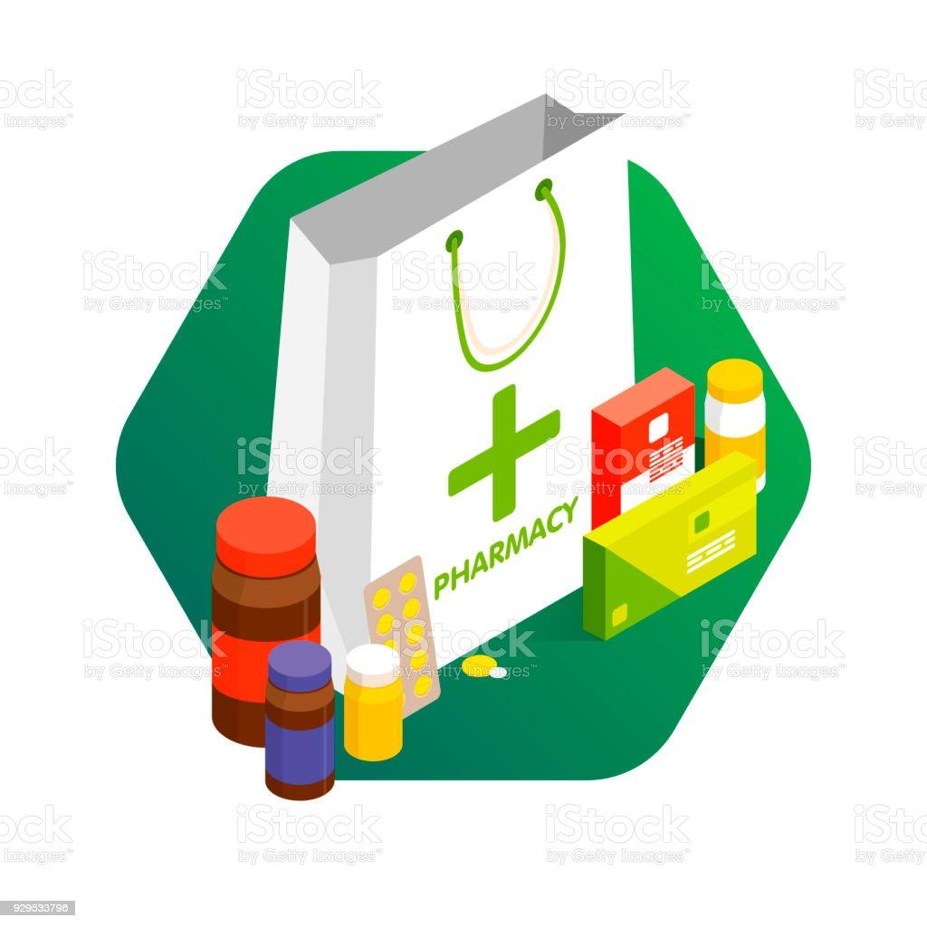 近代的な薬局とドラッグ ストアの概念販売 ビタミンや薬の割引ベクトルの