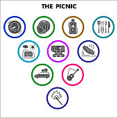 Modern picnic Infographic design template. Summer leisure Infographic visualization in bubble design on white background. Bbq grill template for presentation. Creative vector illustration infographic