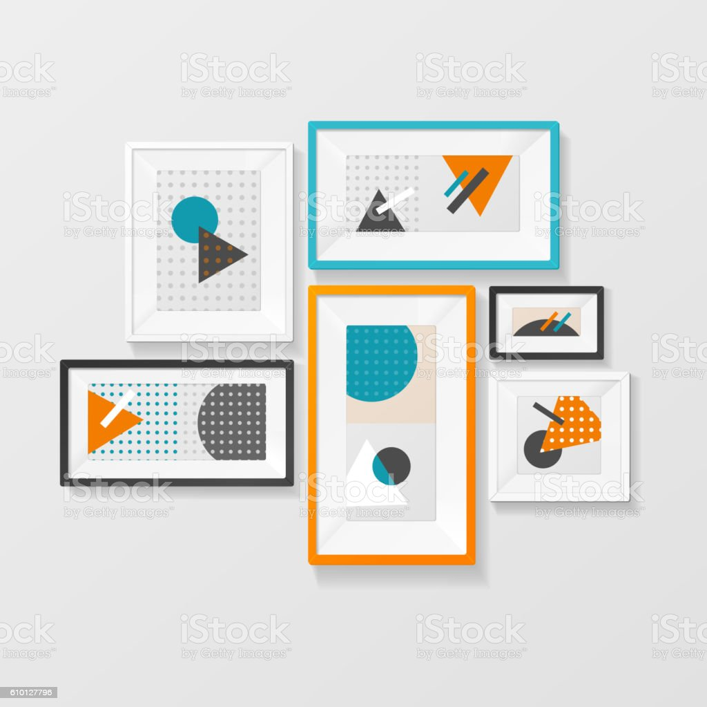 Modern Picture Frame Set Hanging on Wall. Vector vector art illustration