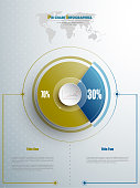 Modern pie chart template in blue and olive color with glass in the center. Background for your documents, web sites, reports, presentations and infographic