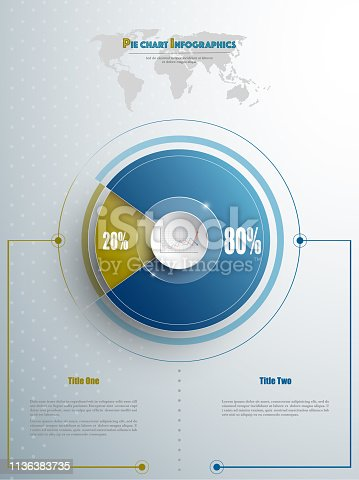 istock Modern pie chart template in blue and olive color with glass in the center. Background for your documents, web sites, reports, presentations and infographic 1136383735