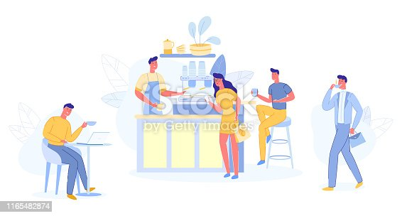 People Relaxing in Cafe Shop. Modern Place Interior to Meet, Drink and Eat, Chat, Have a Rest, Enjoy Free Time, Barista Make Coffee for Public, Hospitality, Spare Time Cartoon Flat Vector Illustration