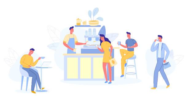 ilustraciones, imágenes clip art, dibujos animados e iconos de stock de lugar moderno interior para reunirse, beber y comer, chat - barista