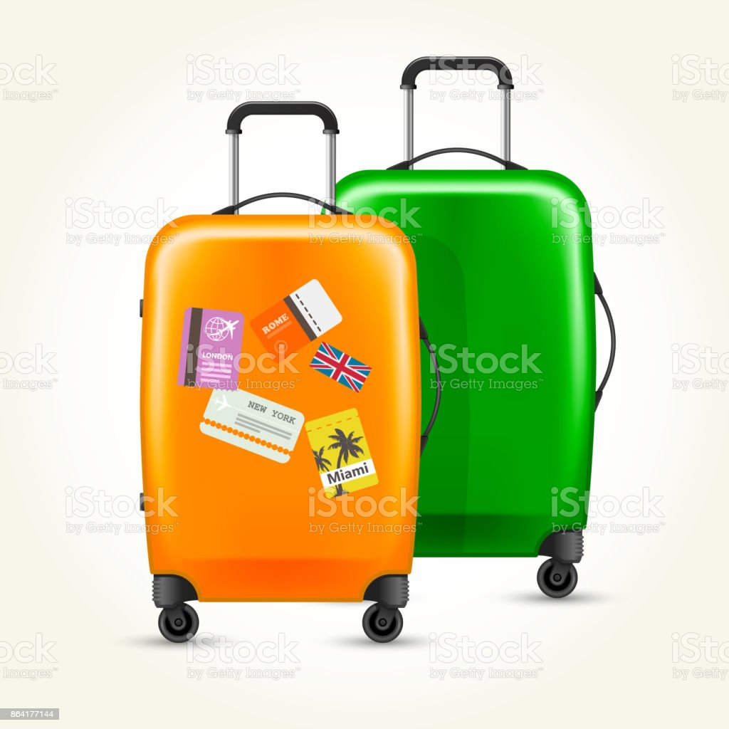 Modern plastic wheeled suitcases with travel tags royalty-free modern plastic wheeled suitcases with travel tags stock vector art & more images of bag