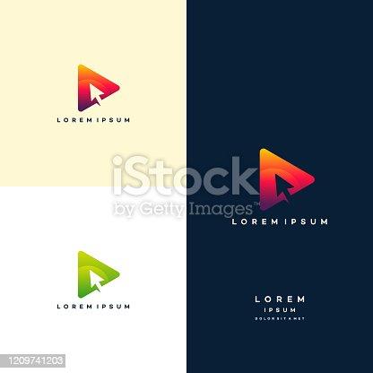 istock Modern Play with cursor Symbol Logo template, Digital Play Logo template designs 1209741203