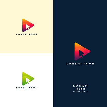 Modern Play with cursor Symbol Logo template, Digital Play Logo template designs