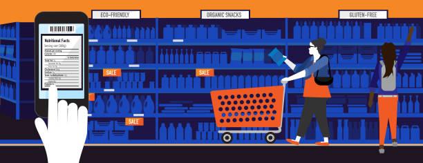 ilustrações de stock, clip art, desenhos animados e ícones de modern plus size woman with smart phone nutrition label app - prateleira compras