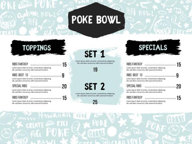 モダンポケボウルレストランのメニューデザイン。カラフルなグランジカフェテンプレート、健康的なハワイの栄養、魚のバナー - ポキ点のイラスト素材/クリップアート素材/マンガ素材/アイコン素材