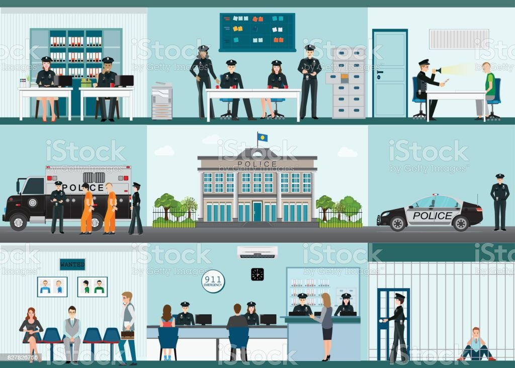Modern Police station building and interior set with office room. vector art illustration