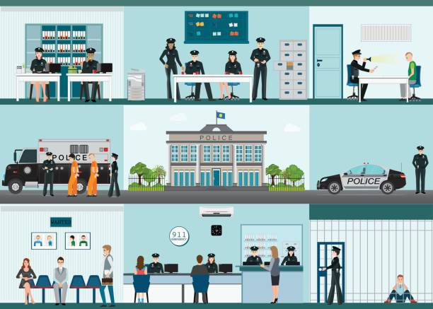 modern police station building and interior set with office room. - police officer stock illustrations, clip art, cartoons, & icons