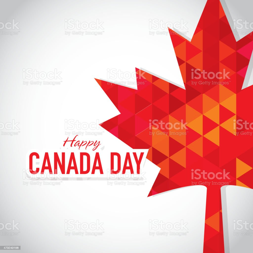 modern polygonal happy canada day celebration greeting card design
