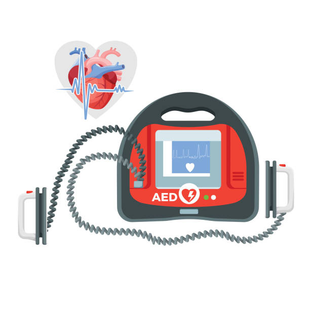 illustrazioni stock, clip art, cartoni animati e icone di tendenza di modern portable defibrillator with small screen and heart illustration - elettrodo