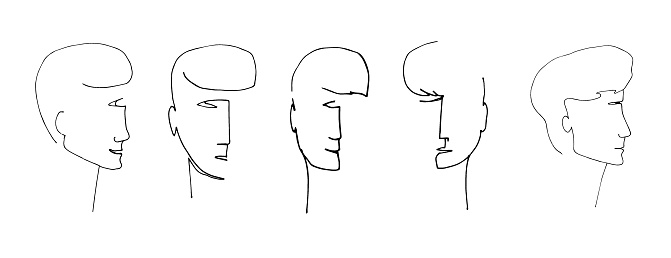 A modern portrait drawn with lines. A set of faces with expressive emotions in a modern style. Male portraits isolated on a white background. Set of vector illustrations