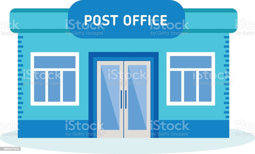 Modern Post Office Building, Outdoor Interior Of House Vector Art  Illustration