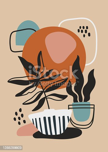 Modern poster design with potted plants over an abstract background of geometric patterns, colored vector illustration