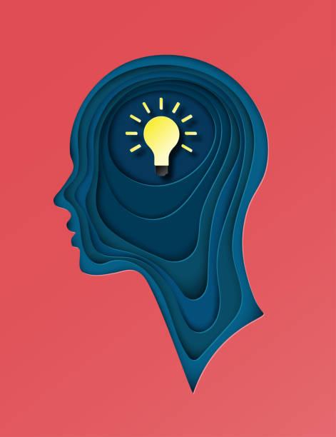 moderne plakat mit geschichteten ausgeschnitten farbpapier menschliche profil mit glühbirne. kreatives denken, geschäftskonzept, innovation. tiefen papier origami kunststil - kopfleuchten stock-grafiken, -clipart, -cartoons und -symbole