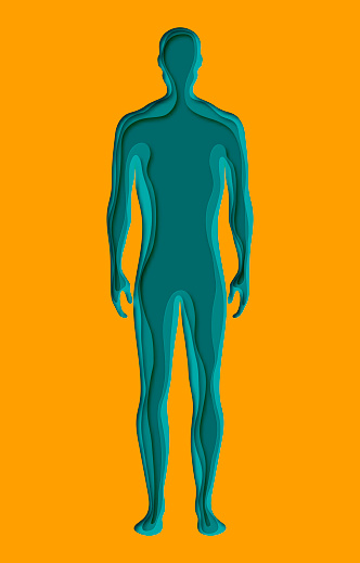 Modern poster with layered cut out colored paper human silhouette. Deep paper art origami style.