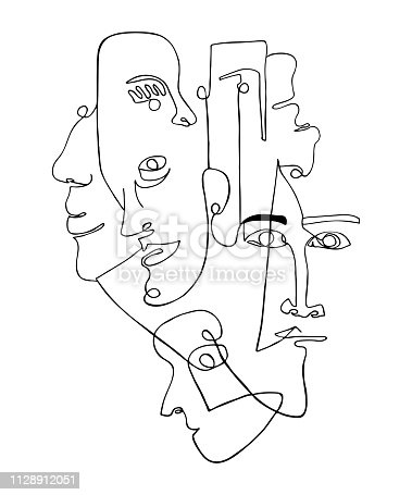 Modern poster with linear abstract faces. Continuous line art. One line drawing. Minimalist graphic.