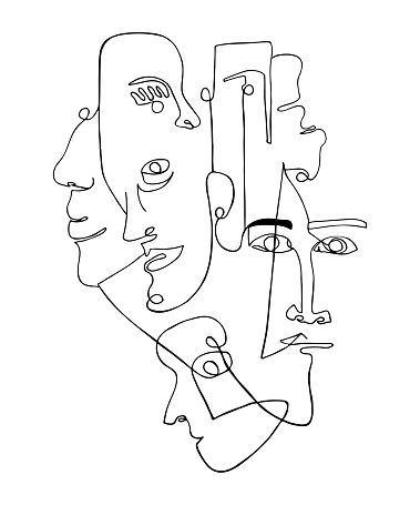 Modern poster with linear abstract faces. clipart